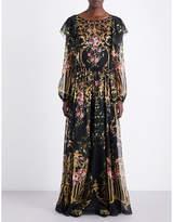 Alberta Ferretti Baroque and floral-print chiffon dress