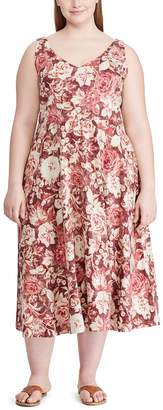 Chaps Plus Size Sleeveless Fit and Flare Midi Dress