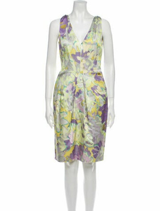 Etro Printed Knee-Length Dress Yellow