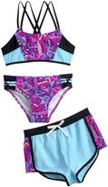 Big Chill Purple & Black Geometric Bikini & Shorts - Girls