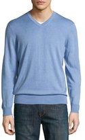 Neiman Marcus Cashmere-Silk V-Neck Sweater, Sky Blue