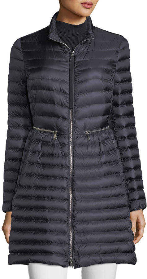 Agatelon Zip Front Quilted Puffer Coat