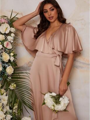 Chi Chi London Angel Sleeve Wrap Maxi Bridesmaid Dress - Champagne