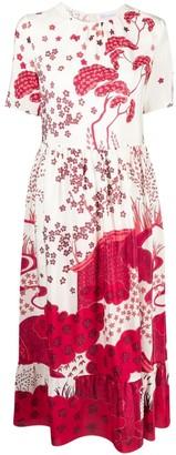 RED Valentino Scene Print Midi Dress