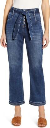 WASH LAB Tie Waist Crop Jeans