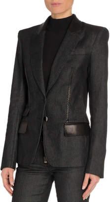 Tom Ford Leather-Trim Denim Blazer