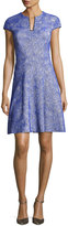 Lela Rose Blair Swirl-Jacquard Cap-Sleeve Dress, Lapis