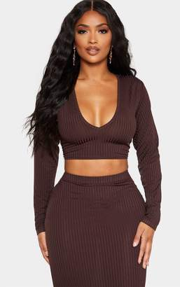 PrettyLittleThing Shape Black Ribbed V Neck Long Sleeve Crop Top