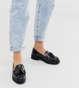 London Rebel wide fit chunky tassel loafers in black croc