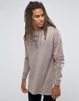 Asos Oversized Long Sleeve T-Shirt With Lace-Up Collar