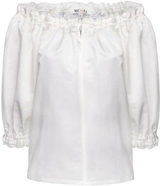 Muza Off The Shoulders Silk Blouse With Lace