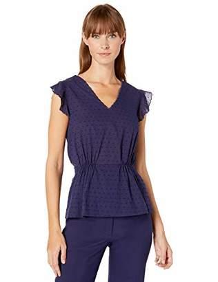 Anne Klein Women's Vneck Blouse with Waist Shirring