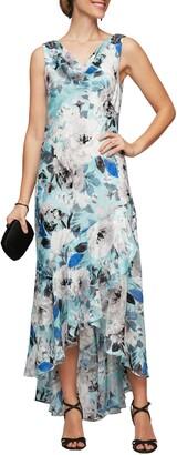 Alex Evenings Floral High/Low Chiffon Dress