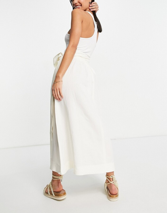 Thumbnail for your product : And other stories & ecovero linen co-ord flowy midi skirt in off white