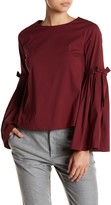 Catherine Malandrino Bell Sleeve Tie Solid Blouse