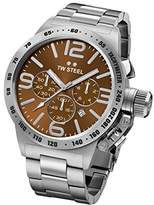 TW Steel Canteen Unisex Quartz Watch with Brown Dial Chronograph Display and Silver Stainless Steel Bracelet CB23