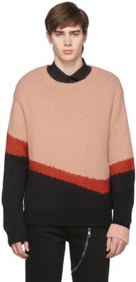Neil Barrett Pink and Black Knit Wool Modernist Sweater