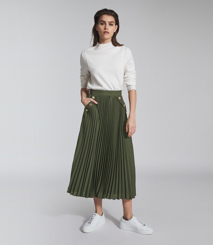Thumbnail for your product : Reiss Lina - Pleated Midi Skirt in Green