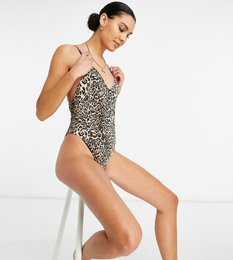 Asos Tall ASOS DESIGN Tall ribbed loop strappy back swimsuit in leopard print