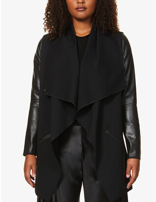 Spanx Draped faux-leather and stretch-woven jacket