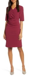 Tahari Pleat Detail Sheath Dress