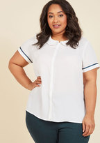 ModCloth Let's Do Lovely Button-Up Top in White in 1X