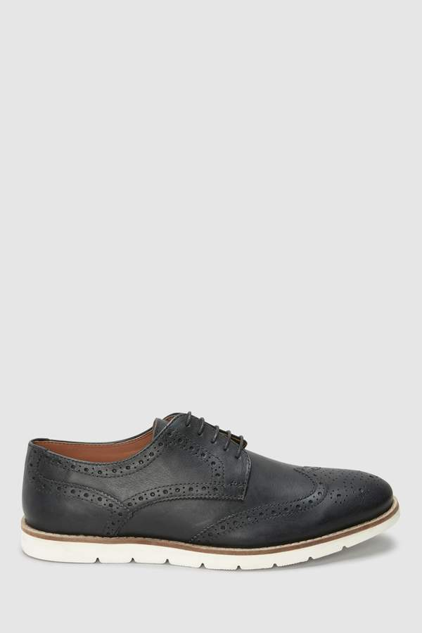 90659f3b4e13 Mens Black Wedge Sole Brogue - Black