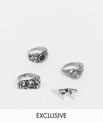 Reclaimed Vintage inspired gothic chunky ring 4 pack in silver