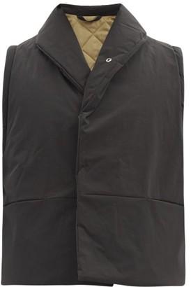 Kassl Editions Wrap Shawl-collar Padded Cotton-blend Gilet - Black