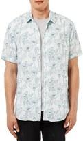 Topman Trim Fit Floral Print Short Sleeve Woven Shirt