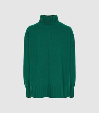 Reiss Bonnie - Wool Cashmere Blend Rollneck Jumper in Green