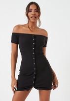 Missguided Black Rib Bardot Button Front Mini Dress