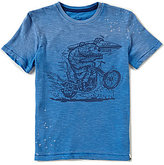 Lucky Brand Big Boys 8-20 Waven Pave Crew Neck Short-Sleeve Ribbed Slub Jersey Graphic Tee