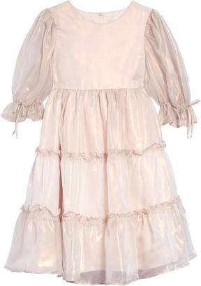 Pippa & Julie Balloon Sleeve Iridescent Tiered Dress