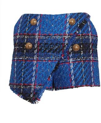 Balmain Asymmetrical Tartan Tweed Shorts