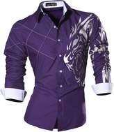 jeansian Men Slim Button Down Long Sleeves Dress Shirt 2028 White XL
