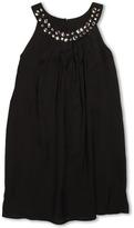 Us Angels Chiffon Trapeze Dress w/ Bead Neckline (Big Kids) (Black) - Apparel