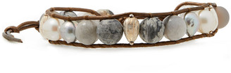 Chan Luu 18-karat Gold-plated Sterling Silver, Leather And Multi-stone Wrap Bracelet
