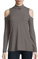 Bobeau Striped Cold Shoulder Tee