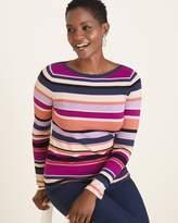 Chico's Chicos Multi-Colored Striped Bateau-Neck Pullover Sweater