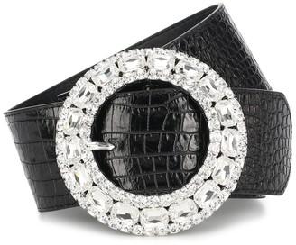 Alessandra Rich Embellished croc-effect leather belt