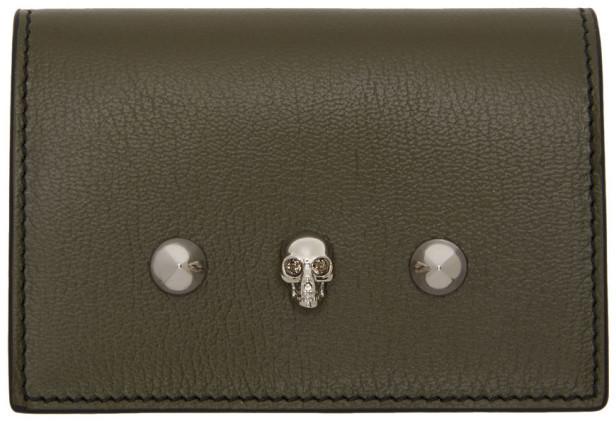 Alexander McQueen Green Skull and Stud Business Card Holder