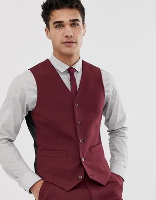 Asos Design DESIGN skinny suit vest in burgundy-Red