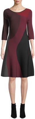 Nic+Zoe Petite Round-Neck 3/4-Sleeve Colorblock Twirl Dress