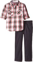 Calvin Klein Little Boys' Woven Plaid Shirt with Pants