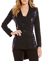 Paris Hues Notch Collar Mixed Print Hi-Low Blazer Jacket