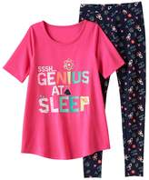 "SO Girls 4-14 SO® ""SSSH...Genius At Sleep"" Tunic & Leggings Pajama Set"