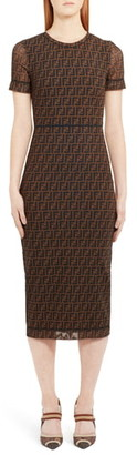 Fendi Sheer Sleeve Logo Pattern Midi Dress