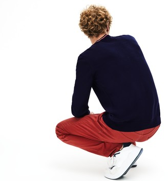 Lacoste Men's Crewneck Mixed Stich And Striped Cotton Sweater