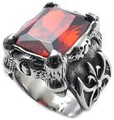 Vmculb Fashion Jewelry Men's Stainless Steel Ring Dragon Claw with Zircon CZ Rectangle Punk Silver Rings for Men Size 13